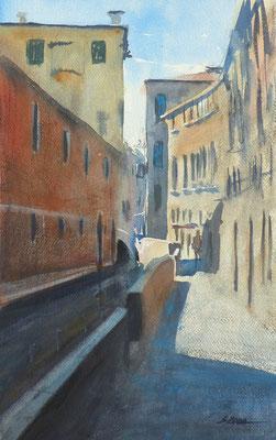 Venise - un canal - Aquarelle sur papier