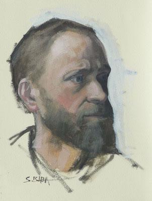 Autoportrait - Huile sur papier