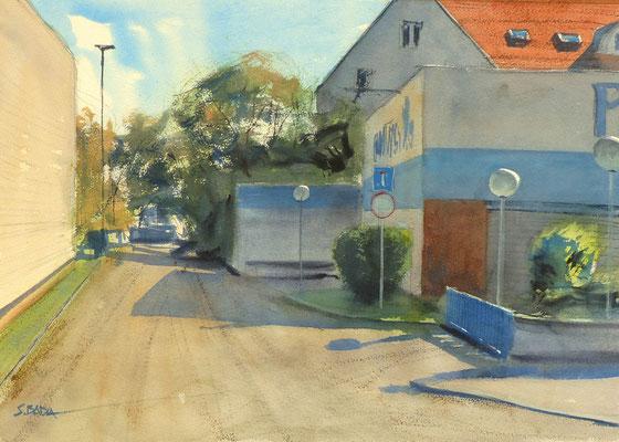 Impasse de la Hohwart, Ombres - Aquarelle 48 x 34 cm
