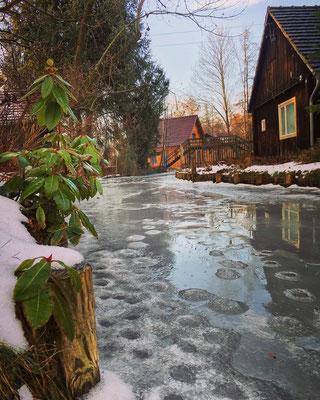 Eisschmelze im Spreewald bei Lübbenau
