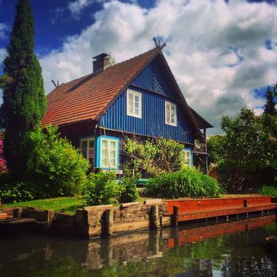 typisches Holzhaus in Lehde im Spreewald