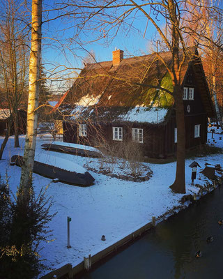 Winteridylle im Lagunendorf Lehde im Spreewald