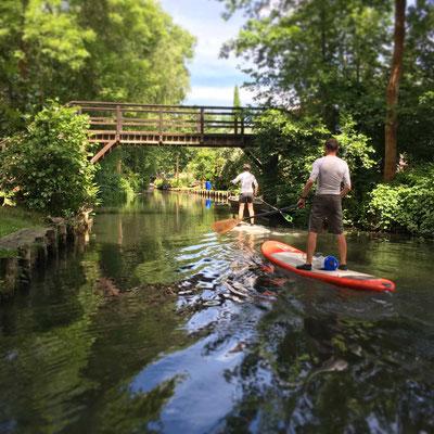 Steh-Paddler auf den Fließen bei Lehde im Spreewald