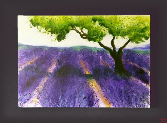 Lavendel, Acryl, 2016, 100x70x2, verliehen