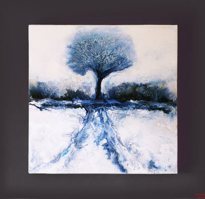 Baum im winter, Acryl mixed media, 2016, 70x70x2, verkauft