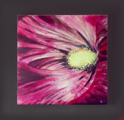 Blüte magenta, Acryl, 2015, 80x80x2