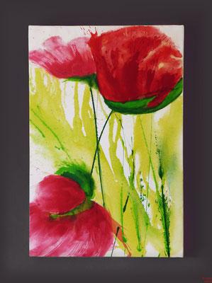 Mohn, Acryl, 2016, 60x90x2, sold