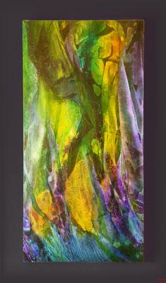 Unter Wasser, Acryl mixed media auf Holz, 2016, 30x60x3