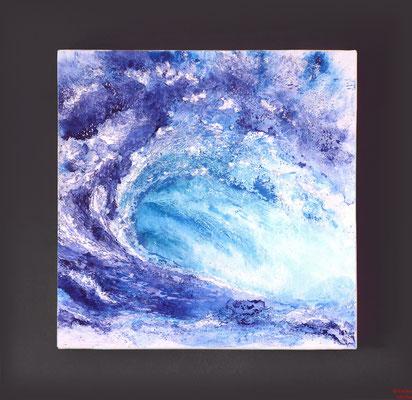 Die Welle, Acryl mixed media, 2016, 70x70x2, verkauft