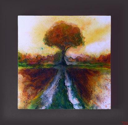 Baum im Herbst, Acryl mixed media, 2016, 70x70x2