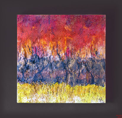 Brennender Wald, Acryl mixed media, 2012, 60x60x4,5,