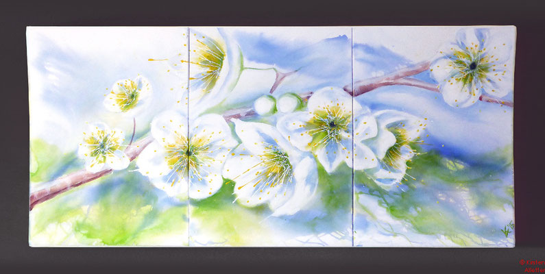 Kirschblüten, Acryl 2015, 180x80x2, ausgestellt in Praxis Dr. Görisch