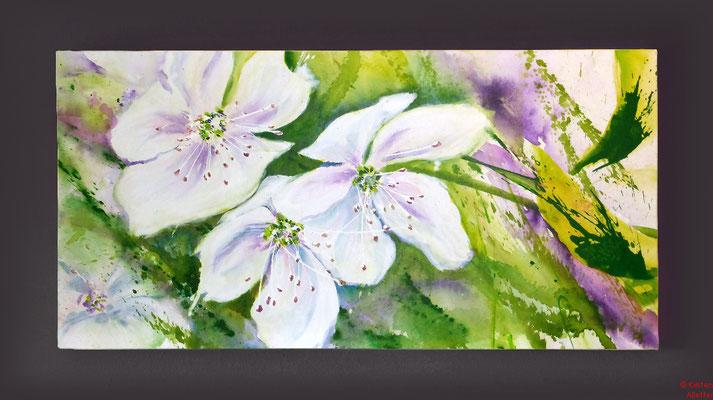 Kirschblüten, Acryl, 2016, 80x40x2, verkauft