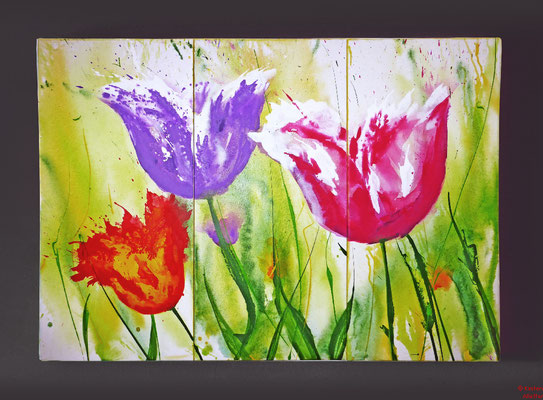Tulpen, Acryl, 2015, 120x80x2, gestiftet an Seniorenwohnheim
