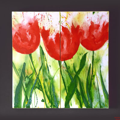 Tulpen, Acryl, 2015, 80x80x2, sold