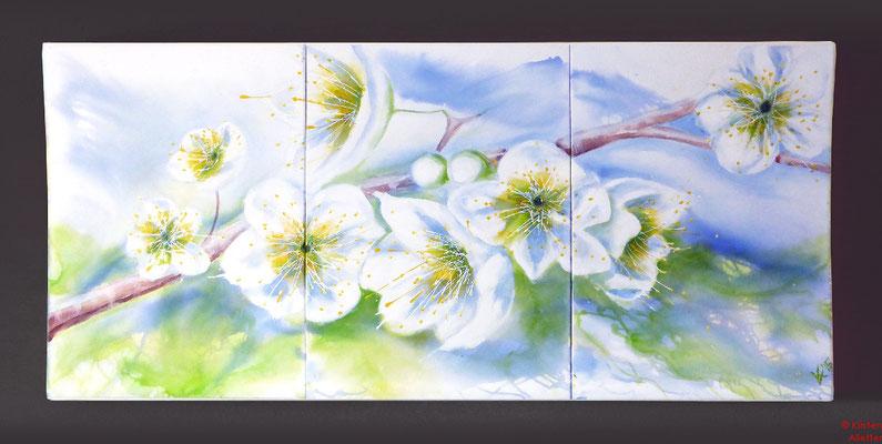 Kirschblüten, Acryl, 2015, 180x80x2,