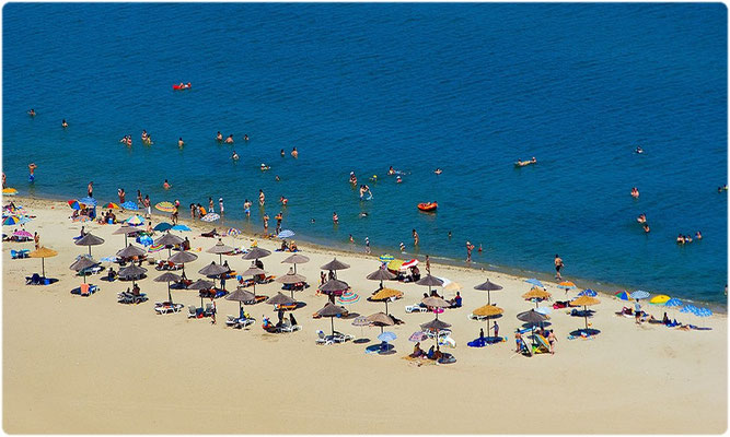 Paralia Pieria sandy beach from helicopter