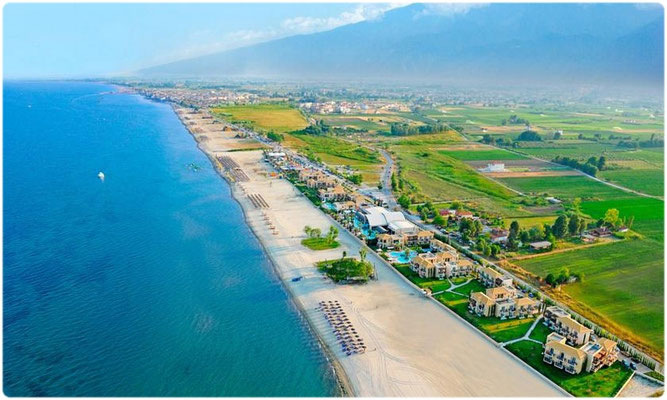Paralia Pieria from helicopter