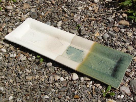 Schale kupfergrün-weiß 40x14cm