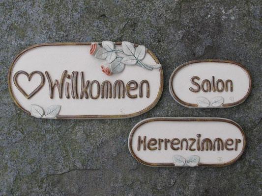 """Türschilder """"Willkommen"""" & """"Salon"""" & """"Herrenzimmer"""""""