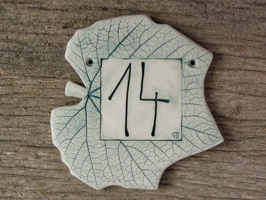 """Türschild Nummer """"14"""" 15cm breit"""