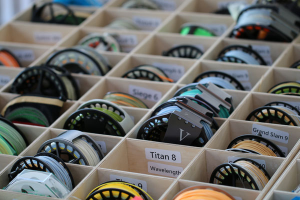 A small selection of the tons of fly reels and fly lines the booth had to offer. - Picture: Danica Dudes