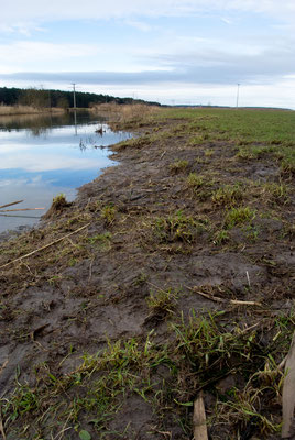 Erkennbare Ufererosion