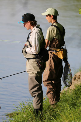 search for trout in river flyfishing