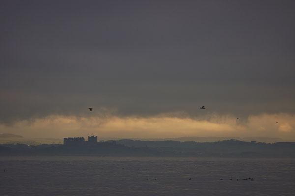 Bamburgh Castle in de mist