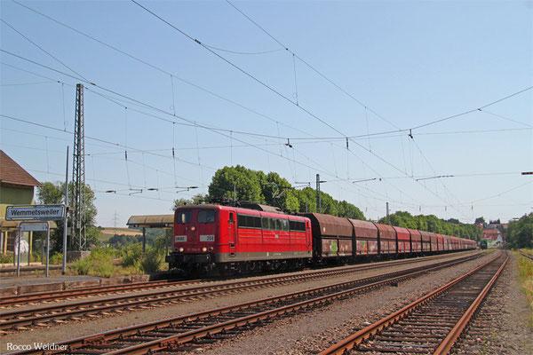 RBH 151 004 mit GM 62474 Neunkirchen(Saar) Hbf - Göttelborn (KW Weiher) (Sdl. Kohle in WP-Fal), Wemmetsweiler 11.07.2015