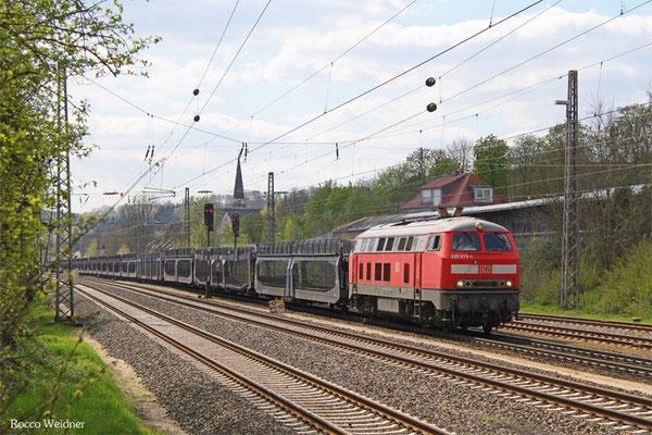 225 073 mit GA 45191 Forbach/F - Passau Gbf (Trnava) (Sdl. leere Laes-Wagen), Dudweiler 19.04.2016