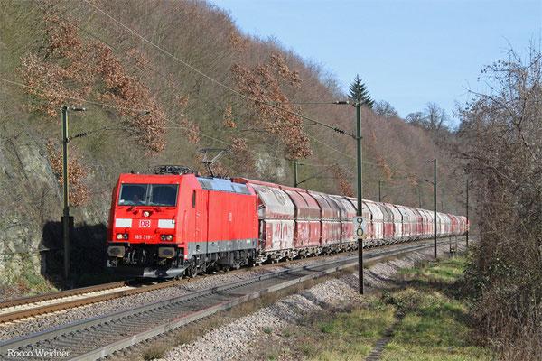 185 319 mit GM 60439 Auersmacher - Dillingen Zentralkokerei, Völklingen Heidstock 06.02.2016
