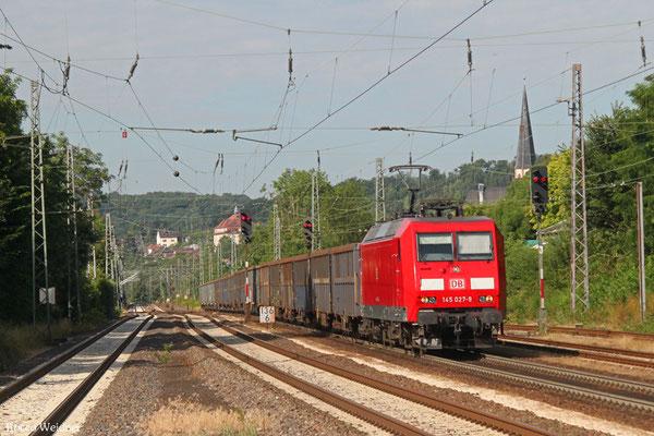 145 027 mit EZ 52660 (EZ 50885 Ehrang Nord - Saarbrücken Rbf) Saarbrücken Rbf Nord - Homburg(Saar) Hbf, Dudweiler 15.07.2015