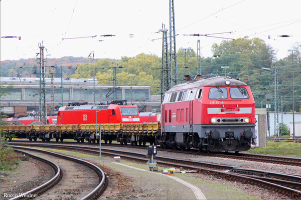 218 261 mit Arbeitszug in Saarbrücken Rbf West, 23.10.2015