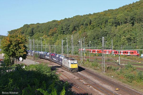 ECR 186 180 mit GA 62210 Saarbrücken Rbf Nord - Forbach/F (Sdl. SRA/PKW), 01.10.2015
