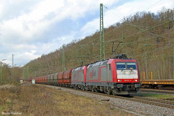 DT 185 591 + 185 597 mit DGS DGS 69531 (Maasvlake West) Duisburg Ruhrort Hafen - Neunkirchen(Saar) Hbf  (Sdl.) , Luisenthal(Saar) 12.02.2016