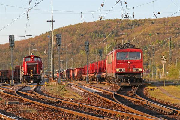 155 091 mit EZ 51911 Saarbrücken Rbf Ost - Mannheim Rbf Gr M, Saarbrücken Rbf 18.04.2015