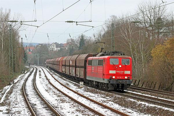 151 161 mit GM 62479 Dillingen Hochofen Hütte - Karlsruhe Rheinbrücke Raffinerie (Sdl.leere Fal), Saarbrücken 28.01.15
