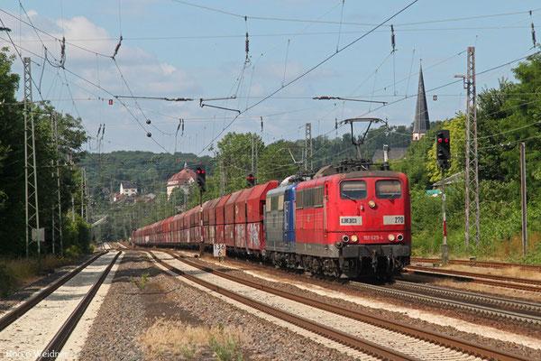 RBH DT 151 025 + 151 124 mit GM 60499 Oberhausen West Orm - Neunkirchen(Saar) Hbf, Dudweiler 15.07.2015