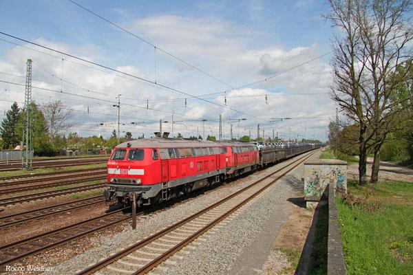 DT 225 805 + 225 021 mit GA 98802 Mannheim-Waldhof Gbf - Saarbrücken Rbf Nord (Gevrey/F) (Sdl.,ex 46386), 26.04.2015