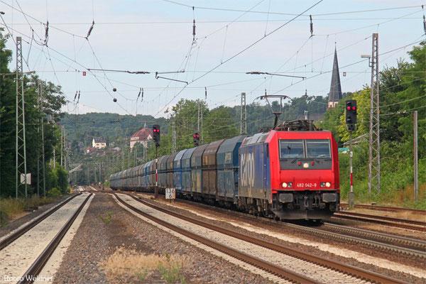 SBB 482 042 (i.E. für HSL) mit DGS 45499 Dillingen Hochofen Hütte - Gubin/PL (Sdl.ex Koks), Dudweiler 15.07.2015