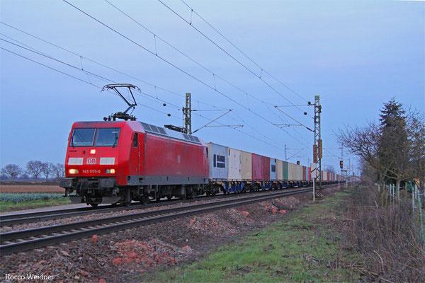 145 055 mit M 62659 Nordenham - Hauptstuhl (Sdl. Militär ohne Lü), Haßloch 18.02.2016