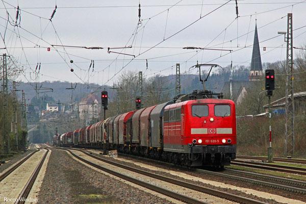 151 020 mit EZ 51927 Dillingen(Saar) - Mannheim Rbf Gr.M, Dudweiler 16.02.2016