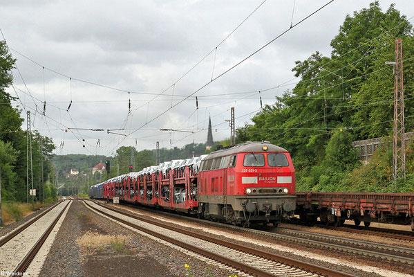 225 021 mit EK 55982 (Einsiedlerhof) Saarbrücken Rbf Nord - Einsiedlerhof (PKW-Drehfahrt), Dudweiler 08.07.2015