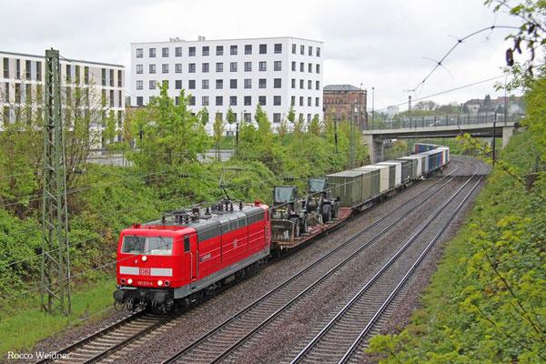 181 211 mit M 44798 Forbach/F - Venlo/NL (Acht) (Sdl.Militärgut), Saarbrücken 01.05.2015