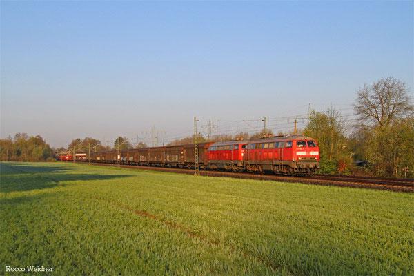 DT 218 002 + 225 073 mit GA 62401 (Villers-Cotterêts) Forbach/F - Mannheim Rbf Gr.M (Sdl. leere Laes), Vogelbach 20.04.2016