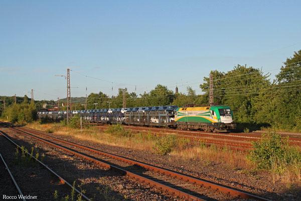 GySEV 182 570 mit DGS 98918 Passau Grenze - Saarbrücken Rbf Nord (Sdl.PKW), Sulzbach 21.07.2015