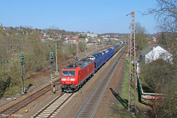 185 028 mit GA 49276 Einsiedlerhof - Woippy/F (Hendaye) (Umleiter), Sulzbach(Saar) 09.04.2015