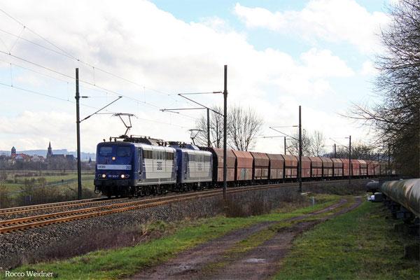DT 151 123 + 151 143 mit GM 48745 Maasvlake - Fürstenhausen, Gersweiler-Ottenhausen 12.02.2016