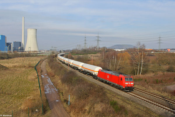 185 079 mit XP 49248 Hüls AG - Creutzwald/F am 30.01.14 bei Ensdorf